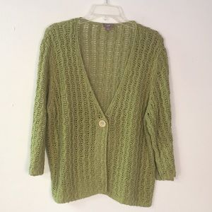 J Jill cotton/linen v neck 1 button cardigan